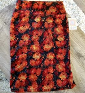 Lularoe Cassie Skirt Floral Orange Black